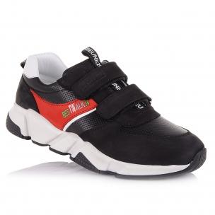 Дитяче взуття PERLINKA (Чорні стильні кросівки з яскравою червоною вставкою)