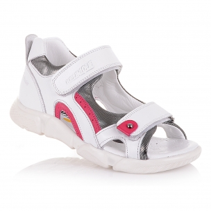 Детская обувь PERLINKA (Белые босоножки на двух липучках)