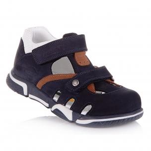 Детская обувь PERLINKA (Закрытые босоножки из темно-синего нубука)