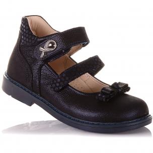 Детская обувь PERLINKA (Туфли с бантом на двух липучках)