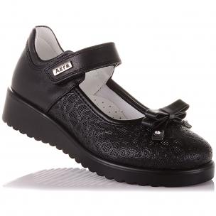 Детская обувь PERLINKA (Школьные туфли из натуральной кожи на липучке)