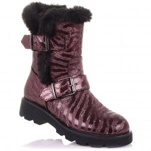 Детская обувь PERLINKA (Яркие зимние сапоги из нубука на змейке)