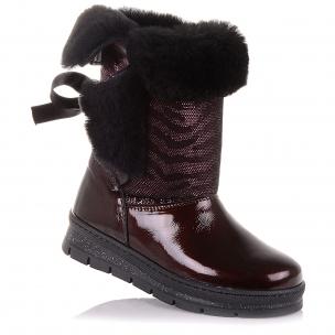 Детская обувь PERLINKA (Зимние сапоги из нубука и лакированной кожи)