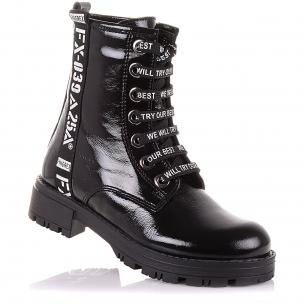 Дитяче взуття PERLINKA (Лакові демісезонні черевики на шнурках і блискавки)