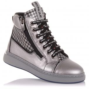 Детская обувь PERLINKA (Демисезонные ботинки из кожи на шнурках и двух змейках)