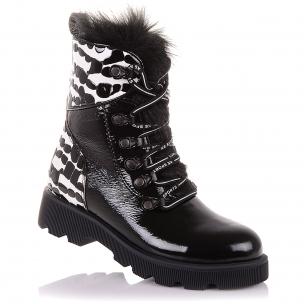 Дитяче взуття PERLINKA ( Лакові зимові чоботи на шнурках і блискавки)