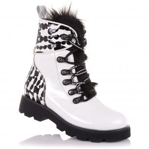 Дитяче взуття PERLINKA ( Лаковые зимние ботинки с натуральным мехом)