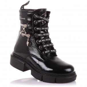 Дитяче взуття PERLINKA ( Лакові зимові черевики на шнурках і блискавки)