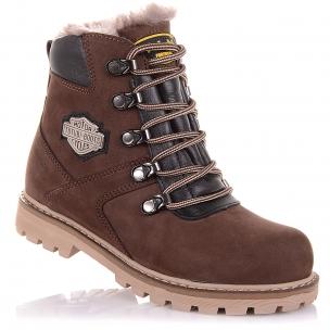 Детская обувь PERLINKA (Зимние ботинки из нубука на шнурках и молнии)