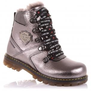 Детская обувь PERLINKA (Зимние ботинки из кожи на шнурках и молнии)