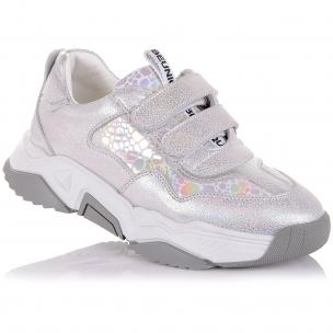 Детская обувь PERLINKA (Серебристые кроссовки из кожи на липучках)