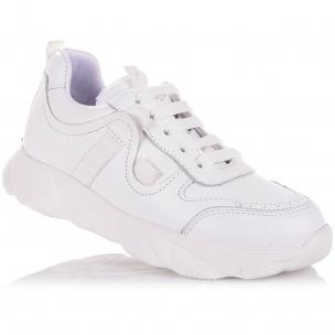 Детская обувь PERLINKA (Белые кроссовки из кожи на шнурках и молнии)