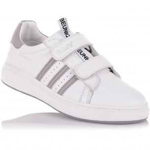 Детская обувь PERLINKA (Белые мокасины из кожи на двух липучках)