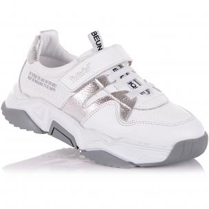 Детская обувь PERLINKA (Белые кроссовки из кожи на одной липучке)