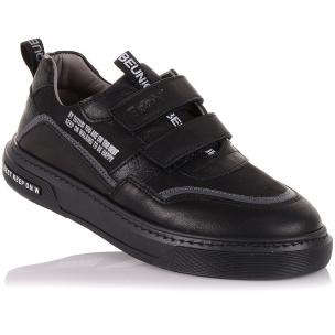 Детская обувь PERLINKA (Мокасины из кожи и нубука на двух липучках)