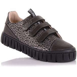 Дитяче взуття PERLINKA (Шкільні мокасини з нубуку на трьох липучках)