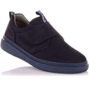 Детская обувь PERLINKA (Школьные мокасины из нубука на липучке)