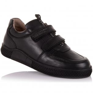 Детская обувь PERLINKA (Школьные мокасины из кожи на двух липучках )