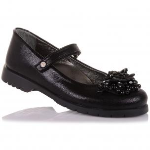 Детская обувь PERLINKA (Школьные туфли из кожи с декором (Цветочек) )