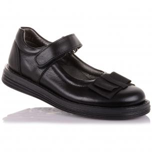 Детская обувь PERLINKA (Туфли из натуральной кожи с бантом на липучке  )