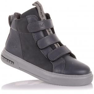 Детская обувь PERLINKA (Серые демисезонные ботинки на трех липучках)