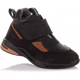 Детская обувь PERLINKA (Демисезонные ботинки из кожи и нубука на широкой липучке)