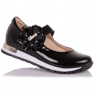 Детская обувь PERLINKA (Туфли из лаковой кожи с цветком на липучке )
