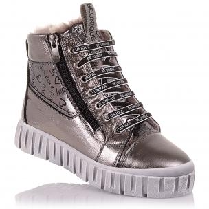 Детская обувь PERLINKA (Серебристые зимние ботинки на шнурках и молнии)