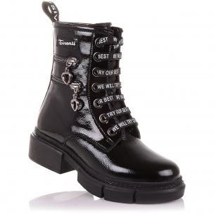 Детская обувь PERLINKA (Лаковые зимние ботинки на шнурках и молнии)